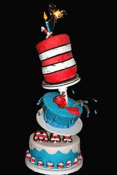 Cat in the Hat Dr Seuss Cake