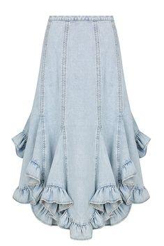 42dae408a1 FRONTIER GODET MIDI SKIRT Woven Fabric, Midi Skirt, Ruffles, Ballet Skirt,  Denim