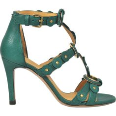 Jérôme Dreyfuss Lola 95 high heel sandal ($540) ❤ liked on Polyvore featuring shoes, sandals, green, green sandals, jérôme dreyfuss, heeled sandals, green shoes and green heeled sandals