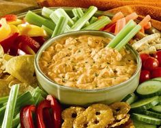 Buffalo Chicken Dip – Low Calorie Superbowl Recipe – 2 Point Total.  Option: substitute The Pioneer Woman's Homemade Hidden Valley Ranch.