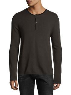The Kooples Mens Long Sleeved T-Shirt with Velvet Trim