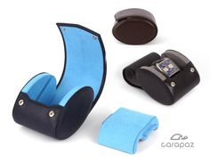 Leather Watch Box - Watch Case - Travel Watch Case - With adaptive flexible pillow and rail system to keep the watch in place - made from genuine quality leather. Brown Beige, Dark Brown, Dark Blue, Light Blue, Red And Pink, Black And Grey, Watch Storage, Leather Watch Box, Swiss Design