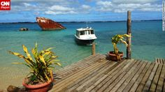 Natalie Montanaro says she loves the calm waters of Pangaimotu in the South Pacific