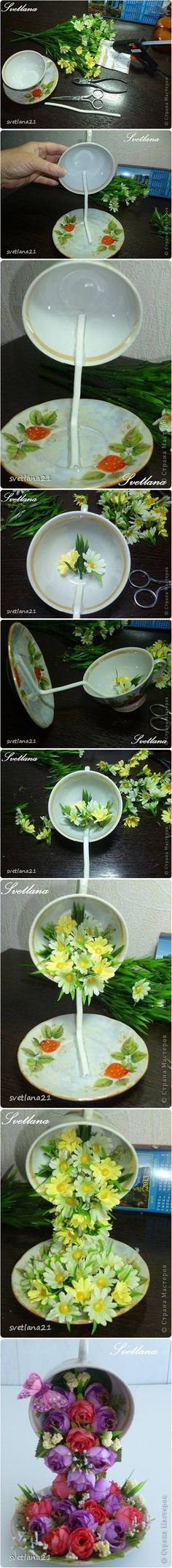 How to Make a Topiary Flower Flying Cup Decor #craft #decor #floating_cup