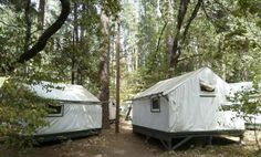 A view of the locked tents in the Curry Village section of Yosemite National Park in California