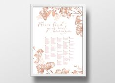Printable Seating Chart Poster Template | Editable PowerPoint Template |  Instant Download | DIY You Print | 18x24 | Pink Floral
