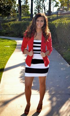 xo Christine Marie featuring Express black and white striped dress Summer Clothes, summer dresses #summer