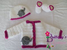 This is the perfect little set to bring home a newborn this winter!  The heart has just a little bit of sparkle, so it's perfect for a little girl!  Also, it makes an awesome baby shower gift!  A nice warm set for a winter newborn!!  The sweater in this set was adapted from my Two Tone Sweater set pattern which can be found for free on my blog!