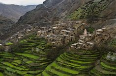 Berber village in Atlas Mountains of Morocco