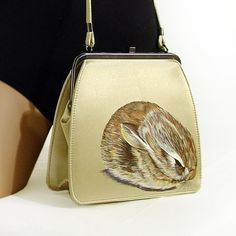 NEW Sleepy Baby Cottontail Rabbit Purse by NYhop - vintage gold satin - OOAK SOLD