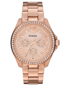 Fossil Watch, Women's Cecile Rose Gold-Tone Stainless Steel Bracelet 40mm AM4483 - All Fossil Watches - Jewelry & Watches - Macy's