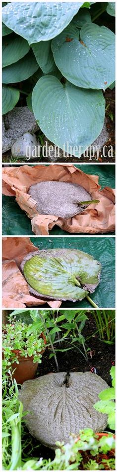 How to Make a Large Leaf Imprint Garden Stepping Stone (full instructions via Garden Therapy)