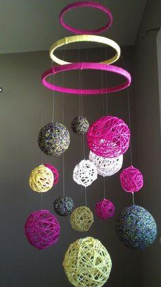 Pink and Yellow Yarn & Fabric Ball Baby Mobile - Fabric Craft Crafts To Make, Home Crafts, Crafts For Kids, Arts And Crafts, Diy Crafts, Fabric Balls, Diy Bebe, Creation Deco, Ideias Diy