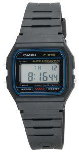 Casio Men's F91W-1 Classic Black Digital Resin Strap Watch Casio. $5.92. 1/100 second digital stopwatch; Measuring modes: Net time, split time, 1st-2nd place times. Quartz movement. Hourly Time Signal; Auto Calendar; Accuracy: +/-30 seconds per month. Resin case; Digital-gray dial; Day-and-date functions