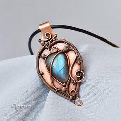 Labradorite pendant wire wrapped jewelry copper jewelry by Artual