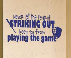 Never Let Fear Striking Out Baseball Boy Sports Themed Kid Room Playroom Wall Decal Decoration Vinyl Quote Sticker Decor Art Mural S37 via Etsy