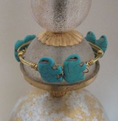 Gold Wire Bangle Bracelet with Elephants  by PatricianCreations, $25.00