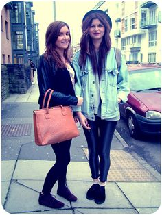 Grace and Jess Jan 2013 Im loving Graces combination of Birkin-esque bag, blazer and burgundy velvet lace up loafers. Jess, meanwhile, teams the late 80s/early 90s look of faded denim jacket and hat with contemporary rolled up matte wet look leggings!