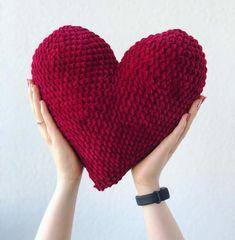 Handmade Crochet Heart Pillow  ❤️  #heart #crochetheart #crochet #handmade #rękodzieło #pillow #crochetheartpillow #szydełko