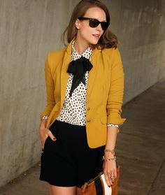 Fall prep - mustard blazer, black and white polka dot blouse with an adorable black bow, and black shorts. (exchange for a black skirt)