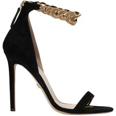 Versace Suede sandal ($1,617) ❤ liked on Polyvore featuring shoes, sandals, nero, suede shoes, kohl shoes, black high heel shoes, chain sandals and black suede sandals