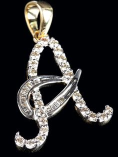 Amazing 'a' Letter Pendent Studded With Dazzling And Bewitching Diamonds Available In 14kt Gold.