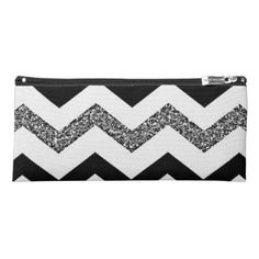 White Glitter Chevron Pencil Case - chic gifts diy elegant gift ideas personalize