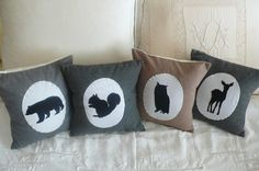 CUSTOM Woodlander Silhouette - YOUR CHOICE of colour and animal - cushion cover