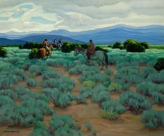 chasingtailfeathers:  E. Martin Hennings (1886-1956) Riders in the Sage Oil on canvas, 20 x 24 inches