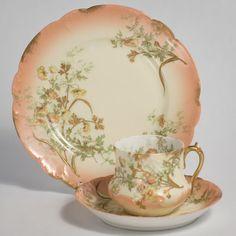 Limoges D & Co Porcelain Art Nouveau Trio Cup Saucer Tea Plate #trio