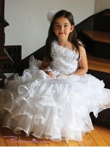 White Gorgeous One Shoulder Embroidery Sequins Flower Girl Dress