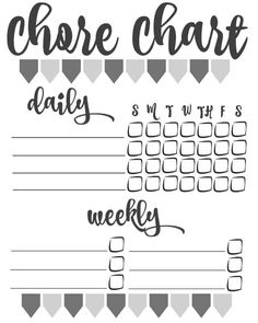 template for chore chart