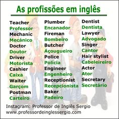 As profissões em #inglês English Help, Fluent English, Learn English Words, English Tips, English Book, English Study, English Lessons, Teaching English Grammar, English Vocabulary Words