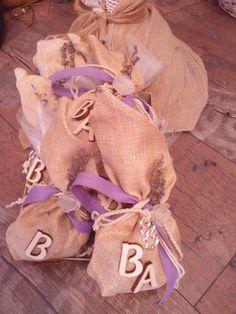 Bomboniera with lavender ,shoap smells lavender and wooben letters Four Square, Burlap, Lavender, Reusable Tote Bags, Letters, Hessian Fabric, Letter, Lettering, Jute