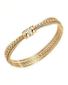 John Hardy 18k Gold Bedeg Diamond-Clasp Bracelet - Neiman Marcus