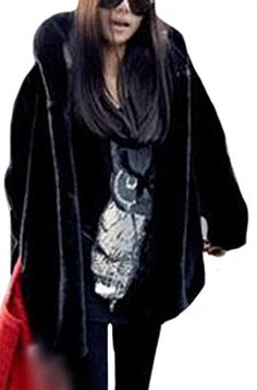 da115f894ec YUNY Women Elegant Woollen Fluffy Thick Loose Hooded Coat Black M