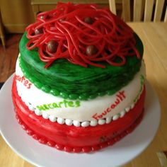 Birthday cake for my brother combining an Italian theme and philosophy theme.  I used a white cake recipe and homemade marshmallow fondant.  The decorations are red and green Jelly Bellies and white York Peppermint Pieces.  The spaghetti on top is made of Pull and Peel Twizzlers and Whoppers.  :-) Italian Themed Parties, Italian Party, Little Italy Party, Spaghetti Dinner, Homemade Marshmallows, Happy Birthday Images, Pizza Party, Themed Cakes, Cake Cookies
