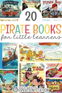 A pirate unit is fun for kids. Children will love to learn about pirates and there are many things you can explore with a pirate unit. Here is a list of 20 pirate books for little learners that will go along great with your pirate unit. Preschool Books, Preschool Activities, Preschool Kindergarten, Preschool Plans, Preschool Learning, Pirate Activities, Pirate Preschool, Pirate Crafts, Teaching The Alphabet