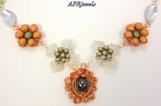 Copper Flower Necklace/Green Flower Necklace/Flower Necklace on Etsy, $17.00