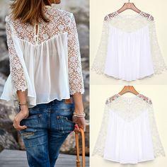 FanShou Free Shipping New 2014 Spring Summer Women Blouses Fashion Casual Lace Shirts Chiffon Blouses White Lace Tops 6289