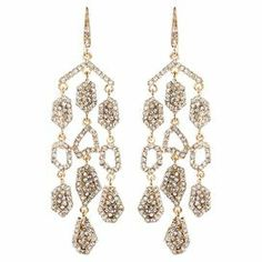 """A bold anchor for bright ensembles and neutral outfits alike, these gold-finished earrings showcase Austrian crystals for eye-catching style.  Product: Pair of earringsConstruction Material: Brass and Austrian crystalColor: Gold and clearFeatures: HookDimensions: 3"""" H x 1"""" W each"""
