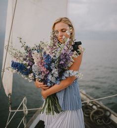 Wedding Flowers Our Favorite Bouquets from 2017 - larkspur blue bouquet Church Wedding Flowers, Cheap Wedding Flowers, Bridal Flowers, Floral Wedding, Wedding Bouquets, Wedding Day, Green Wedding, Wedding Shoes, Larkspur Wedding Bouquet