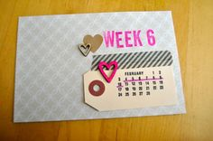 amy tangerine project life week card - love the calendar on the tag