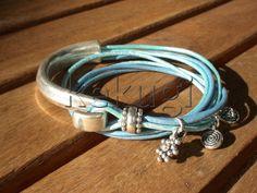 women blues leather bracelet sterling silver plated half by kekugi, $26.00