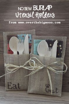 No Sew Burlap Utensil Holders {using the Silhouette to create the stencil} + How to Host an Autumn Market Party Part 4 | Over The Big Moon