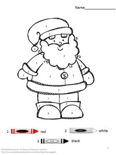 Christmas Coloring Pages-These Christmas color by number coloring printable pages work well for preschool, kindergarten, special education, ESL and students with autism. They will practice number word, color recognition and color words and develop eye-hand coordination.