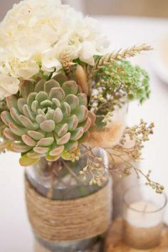 Mason jars wedding centerpieces will become a great décor element for any wedding. Look at the list below and pick the best mason jars for your wedding. Succulent Wedding Centerpieces, Mason Jar Centerpieces, Centerpiece Ideas, Centerpiece Flowers, Simple Centerpieces, Floral Wedding, Diy Wedding, Wedding Flowers, Wedding Ideas