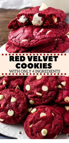 These Red Velvet Cake Mix Cookies are soft, chewy & filled with white chocolate chips. There's only 4 ingredients and they're the perfect easy red velvet cookie for Christmas or Valentine's! food for dinner easy recipes Red Velvet Cake Mix Cookies Red Velvet Cake Mix, Red Velvet Cookies, Cream Cookies, Red Velvet Desserts, Red Velvet Recipes, Red Velvet Brownies, Red Celvet Cake, Cookies With Cake Mix, Easy Red Velvet Cupcakes
