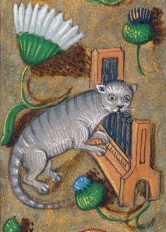 organ cat prayer book, Bruges or Ghent c. Medieval Manuscript, Medieval Art, Medieval Drawings, Medieval Music, Illuminated Letters, Illuminated Manuscript, Fancy Cats, Doodles, Book Of Hours