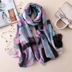 >> Click to Buy << 2017 Women Fashion Gradient Plaid Silk Scarf Shawl Spain Luxury Brand Smooth Beach Wrap Snood Foulard Sjaal Beach Cover-up Hijab #Affiliate